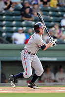 Second baseman Luke Dykstra (4) of the Rome Braves bats in a game against the Greenville Drive on Thursday, July 28, 2016 at Fluor Field at the West End in Greenville, South Carolina. (Tom Priddy/Four Seam Images)