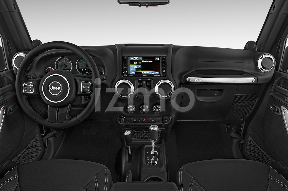 Stock photo of straight dashboard view of 2017 JEEP Wrangler Rubicon 5 Door SUV Dashboard