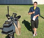 101 Tour de France 2014 - <br /> I tele journalist live at the cycling road race 'Tour de France', on July 17, 2014.