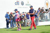 Matt Kuchar (USA) departs the first tee during round 4 Singles of the 2017 President's Cup, Liberty National Golf Club, Jersey City, New Jersey, USA. 10/1/2017. <br /> Picture: Golffile | Ken Murray<br /> <br /> All photo usage must carry mandatory copyright credit (&copy; Golffile | Ken Murray)