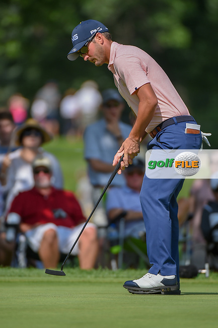 Andrew Landry (USA) sinks his putt on 2 during 2nd round of the World Golf Championships - Bridgestone Invitational, at the Firestone Country Club, Akron, Ohio. 8/3/2018.<br /> Picture: Golffile | Ken Murray<br /> <br /> <br /> All photo usage must carry mandatory copyright credit (© Golffile | Ken Murray)