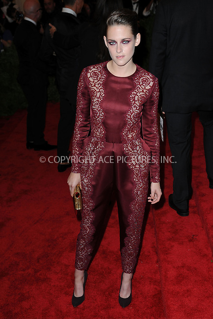 WWW.ACEPIXS.COM . . . . . .May 6, 2013...New York City.....Kristen Stewart attending the PUNK: Chaos to Couture Costume Institute Benefit Gala at The Metropolitan Museum of Art in New York City on May 6, 2013  in New York City ....Please byline: Kristin Callahan...ACEPIXS.COM...Ace Pictures, Inc: ..tel: (212) 243 8787 or (646) 769 0430..e-mail: info@acepixs.com..web: http://www.acepixs.com .