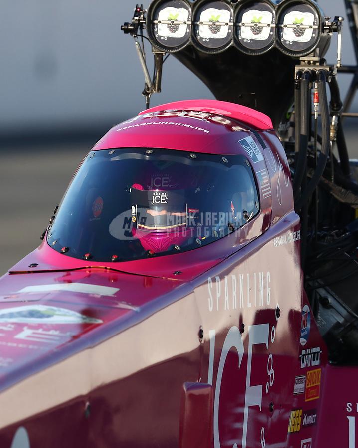 Feb 8, 2019; Pomona, CA, USA; NHRA top fuel driver Leah Pritchett during qualifying for the Winternationals at Auto Club Raceway at Pomona. Mandatory Credit: Mark J. Rebilas-USA TODAY Sports