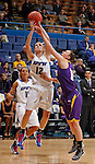 SIOUX FALLS, SD - MARCH 10:  Erin Murphy #12 of IPFW shoots over the defense of  Michelle Maher #14 of Western Illinois during their game at 2013 Summit League Basketball Championships Sunday at the Sioux Falls Arena. (Photo by Dick Carlson/Inertia)