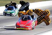 Sept. 5, 2010; Clermont, IN, USA; NHRA funny car driver Jeff Diehl (near) and Tony Pedregon during qualifying for the U.S. Nationals at O'Reilly Raceway Park at Indianapolis. Mandatory Credit: Mark J. Rebilas-