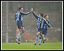 02/11/2002                   Copyright Pic : James Stewart.File Name : stewart-east fife v albion 07.ALBION'S JIM MERCER (11) CELEBRATES WITH CHRIS SILVESTRO AFTER HE SCORES THE FIRST....Payments to :-.James Stewart Photo Agency, 19 Carronlea Drive, Falkirk. FK2 8DN      Vat Reg No. 607 6932 25.Office     : +44 (0)1324 570906     .Mobile  : +44 (0)7721 416997.Fax         :  +44 (0)1324 570906.E-mail  :  jim@jspa.co.uk.If you require further information then contact Jim Stewart on any of the numbers above.........