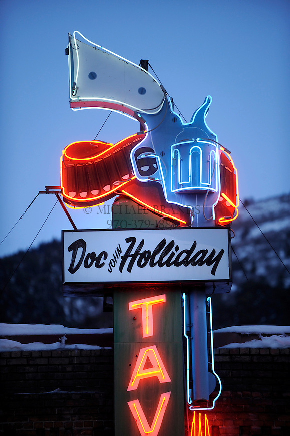 Neon sign outside the Doc Holliday Tavern in downtown Glenwood Springs, CO. Michael Brands for The New York Times.
