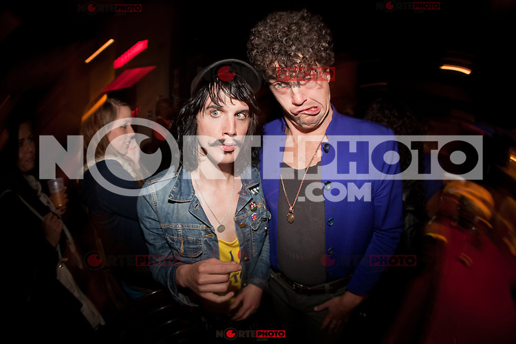 Foxy Shazam hanging out after the show with supporting band at The Loft in Lansing, Michigan on April 30, 2012. © Joe Gall / MediaPunch Inc.