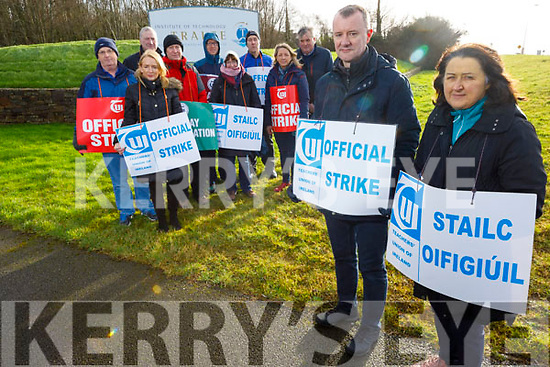 At the IT Tralee where there is an Official Strike Action on Tuesday morning.<br /> Front l to r: Simon Quinn and Jackie Gavaghan.<br /> L to r: Miriam McGillicuddy, Ray O' Connor Desmond, Gerry Gallagher, Terry Gallahan, TJ O'Connor, Elizabeth McEntee, Michael Crossan, Carmel Kenny and Michael Foley.