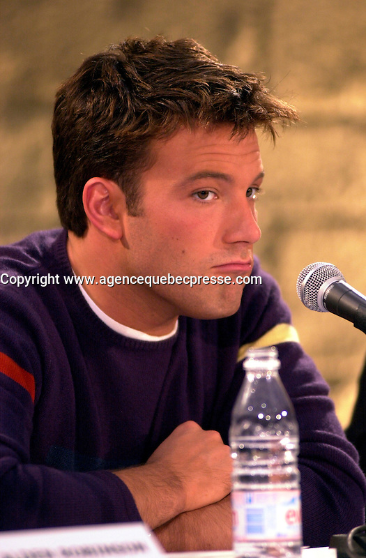 Montreal,April 9, 2001<br /> American actor Ben Affleckmakes a funny expression while he  speaks at a press conference for the movie `` Sum of all fears ``, currentlly beeing shot in Montreal, CAnada by film maker Phil Alden Robinson.<br /> <br /> Affleck plays CIA analyst Jack Ryan in the 4th movie  based on a Tom Clancy's novel and produced by Mace Neufeld.<br /> <br /> Photo by Pierre Roussel / I Photo<br /> <br /> NOTE :  color corrected D-1 file, saved asAdobe 1998 RBG Color space