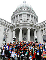 Steve Peyton (4th row, center) celebrates his son Kevin's life with hundreds of friends who run at the Crazylegs 2010 on Saturday, 4/24/10, in Madison, Wisconsin