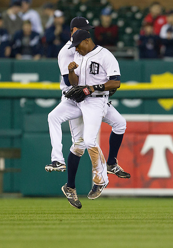 May 01, 2012:  Detroit Tigers outfielders Austin Jackson (14) and Don Kelly (32) celebrate their victory after MLB game action between the Kansas City Royals and the Detroit Tigers at Comerica Park in Detroit, Michigan.  The Tigers defeated the Royals 9-3.