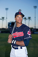 Quentin Holmes (70) of the AZL Indians poses for a photo before a game against the AZL Padres on August 30, 2017 at Goodyear Ball Park in Goodyear, Arizona. (Zachary Lucy/Four Seam Images)