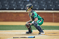 Notre Dame Fighting Irish catcher Jack Alexander (8) waits for a throw at home plate during the game against the Wake Forest Demon Deacons at David F. Couch Ballpark on March 10, 2019 in  Winston-Salem, North Carolina. The Demon Deacons defeated the Fighting Irish 7-4 in game one of a double-header.  (Brian Westerholt/Four Seam Images)