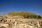 Israel, Beth Shean valley. Ruins of the Roman-Byzantine city Scythopolis, Tel Beth Shean is in the background