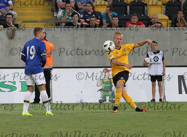 Marcel Hilßner puts in a cross in the Dynamo Dresden v Everton match in the Bundeswehr Karriere Cup Dresden 2016 played at the DDV Stadion, Dresden on 29.7.16.