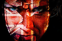 Conceptual portrait Flag and textured face, conceptual.