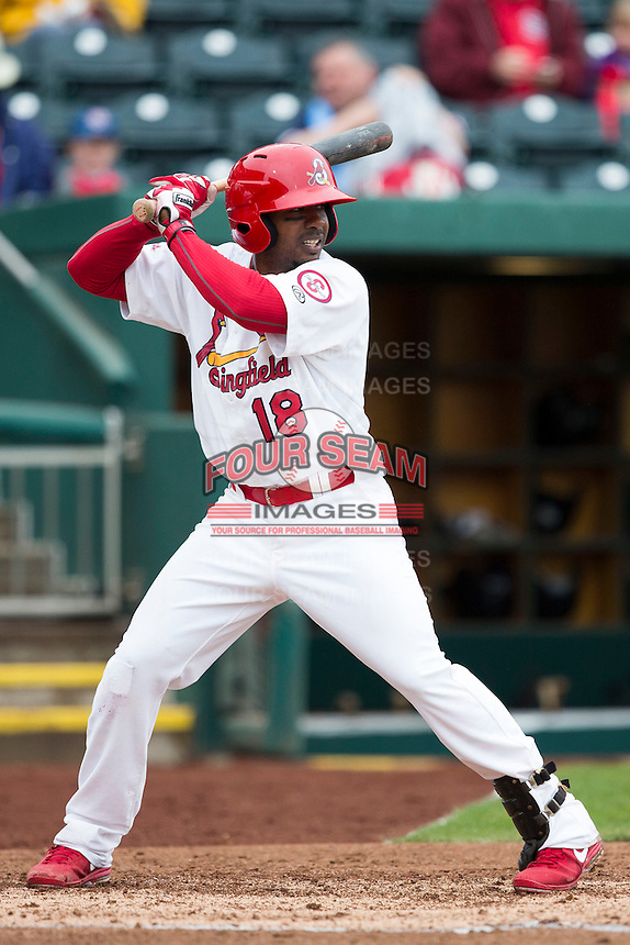 Ruben Gotay #18 of the Springfield Cardinals at bat during a game against the San Antonio Missions at Hammons Field on April 16, 2013 in Springfield, Missouri. (David Welker/Four Seam Images)