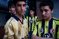 ISTANBUL - MAY 26, 2007:   Young Fenerbahce fans in Istanbul, Turkey. Photo by Landon Nordeman.