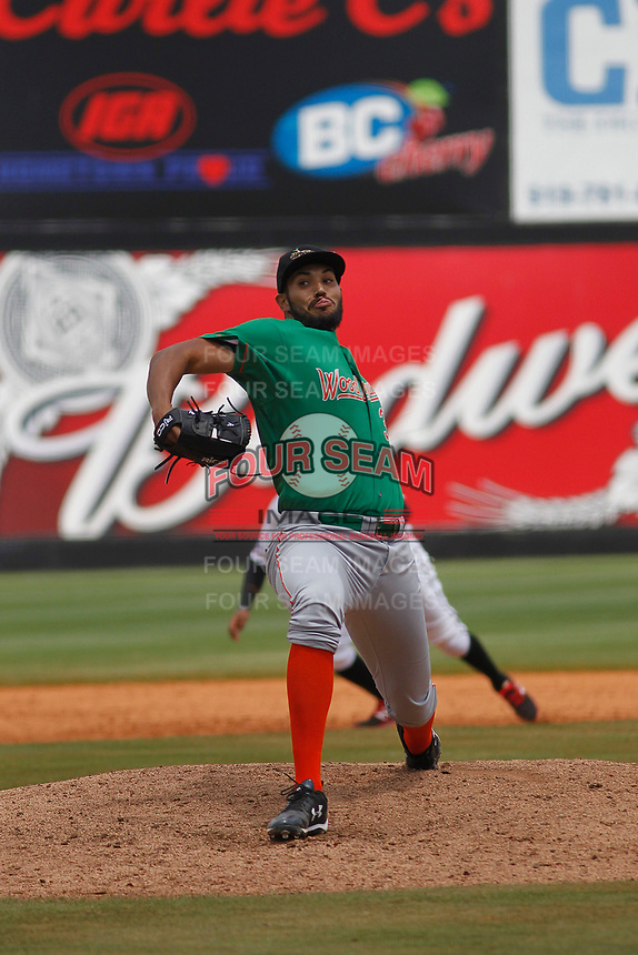 Down East Wood Ducks pitcher Adam Choplick (38) on the mound during a game against the Carolina Mudcats  on April 27, 2017 at Five County Stadium in Zebulon, North Carolina. Carolina defeated Down East 9-7. (Robert Gurganus/Four Seam Images)
