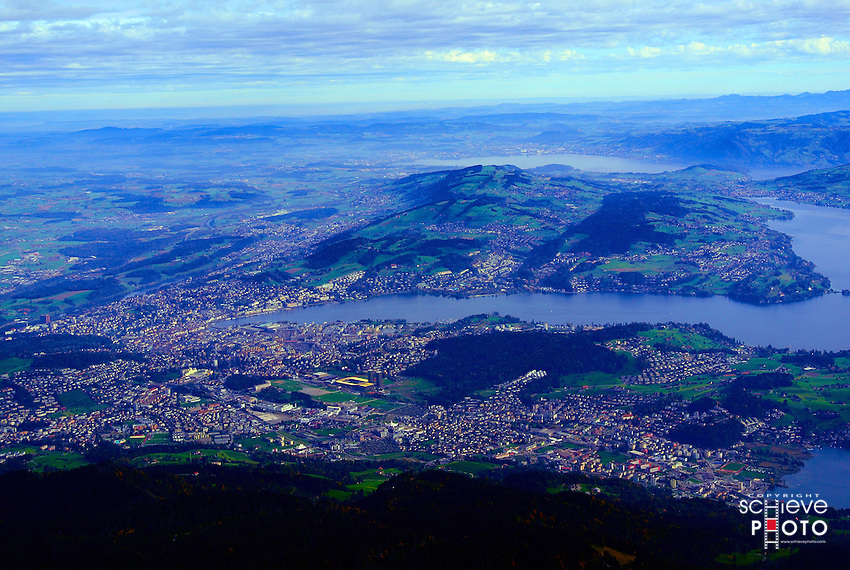 Lucerne, Switzerland from Mount Pilatus. Lake Lucerne is body of water on the right.