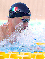 Trofeo Settecolli di nuoto al Foro Italico, Roma, 14 giugno 2013.<br /> Fabio Scozzoli, of Italy, competes in the men's 50 meters breaststroke at the Sevenhills swimming trophy in Rome, 14 June 2013.<br /> UPDATE IMAGES PRESS/Isabella Bonotto