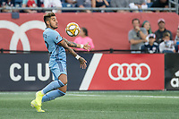 FOXBOROUGH, MA - SEPTEMBER 29: Ronald Matarrita #22 of New York City FC chest traps the ball during a game between New York City FC and New England Revolution at Gillettes Stadium on September 29, 2019 in Foxborough, Massachusetts.