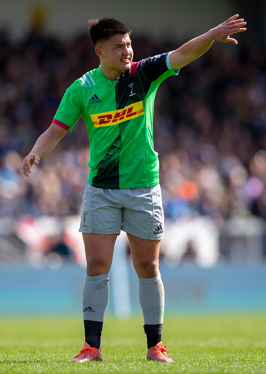Harlequins' Marcus Smith<br /> <br /> Photographer Bob Bradford/CameraSport<br /> <br /> Gallagher Premiership - Exeter Chiefs v Harlequins - Saturday 27th April 2019 - Sandy Park - Exeter<br /> <br /> World Copyright © 2019 CameraSport. All rights reserved. 43 Linden Ave. Countesthorpe. Leicester. England. LE8 5PG - Tel: +44 (0) 116 277 4147 - admin@camerasport.com - www.camerasport.com