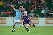 9th January 2018, nib Stadium, Perth, Australia; A League football, Perth Glory versus Melbourne City; Nathaniel Atkinson Melbourne City midfielder and Walter Scott from Perth Glory grab each others shirts as they contest the ball