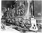 D&amp;RGW #473 K-28 in Durango roundhouse.<br /> D&amp;RGW  Durango, CO  Taken by Payne, Andy M. - 4/13/1968