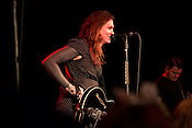 Durham, North Carolina - Sunday May 15, 2016 - Laura Jane Grace of the band Against Me! talks to the crowd at Motorco Sunday night in Durham. The band kept their scheduled tour date in Durham and used the show as a platform to protest North Carolina House Bill 2.