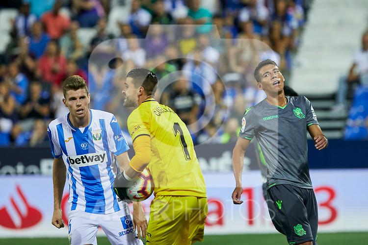 Leganes' Gerard Gumbau (l) and Ivan Cuellar (r) and Real Sociedad's Ruen Pardo during La Liga match. August 24, 2018. (ALTERPHOTOS/A. Perez Meca)