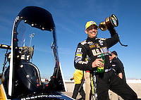 Mar 30, 2014; Las Vegas, NV, USA; NHRA top fuel dragster driver Tony Schumacher celebrates after winning the Summitracing.com Nationals at The Strip at Las Vegas Motor Speedway. Mandatory Credit: Mark J. Rebilas-USA TODAY Sports