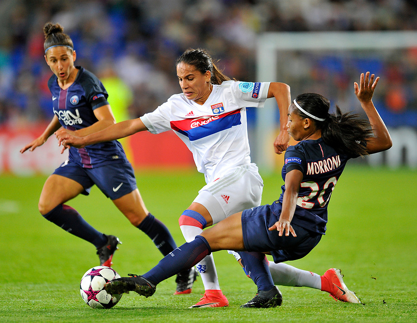 Olympique Lyonnais' Amel Majri is tackled by Paris Saint-Germain's Perle Morroni<br /> <br /> Photographer Ashley Crowden/CameraSport<br /> <br /> UEFA Women's Champions League Final - Lyon Women v Paris Saint-Germain Women - Thursday 1st June 2017 - Cardiff City Stadium<br />  <br /> World Copyright &copy; 2017 CameraSport. All rights reserved. 43 Linden Ave. Countesthorpe. Leicester. England. LE8 5PG - Tel: +44 (0) 116 277 4147 - admin@camerasport.com - www.camerasport.com