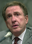 United States Senator Arlen Specter (Republican of Pennsylvania) listens as Robert S. Mueller, III testifies before the United States Senate Committee on the Judiciary to be confirmed as the Director of the Federal Bureau of Investigation (FBI) on Capitol Hill in Washington, DC on July 30, 2001. If confirmed, Mueller will succeed Louis J. Freeh.<br /> Credit: Ron Sachs / CNP