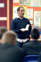 Author of teenage novels, Bali Rai, visits a state secondary school to give a talk about his work.