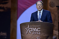 National Harbor, MD - March 6, 2014: Wayne LaPierre, Executive Vice President of the National Rifle Association, addresses attendees of the 2014 Conservative Political Action Conference held at National Harbor, MD March 6, 2014.   (Photo by Don Baxter/Media Images International)