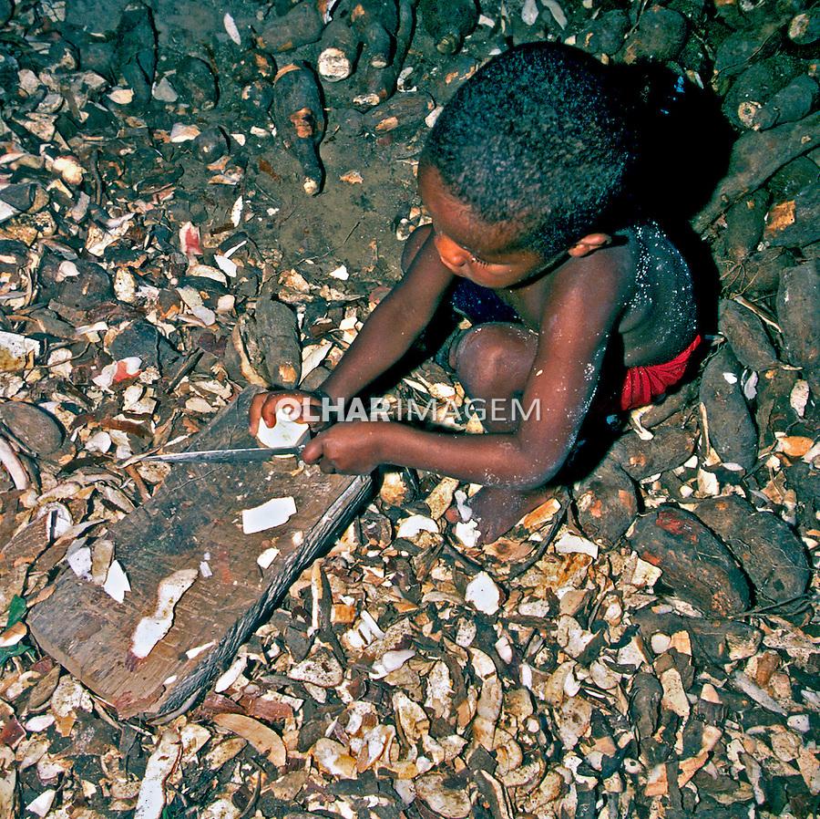 Criança cortando mandioca em Monte Pascoal, Bahia. 1999. Foto de Juca Martins.