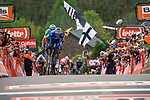 Julian Alaphilippe (FRA) Deceuninck-Quick Step wins the 83rd edition of La Fl&egrave;che Wallonne 2019 with Jakob Fuglsang (DEN) Astana Pro Team 2nd, running 195km from Ans to Huy, Belgium. 24th April 2019.<br /> Photo by Thomas van Bracht / PelotonPhotos.com / Cyclefile