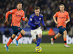 James Maddison of Leicester City runs from Gylfi Sigurdsson of Everton during the Premier League match at the King Power Stadium, Leicester. Picture date: 1st December 2019. Picture credit should read: Darren Staples/Sportimage