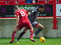 Lincoln City's Matt Green vies for possession with Accrington Stanley's Scott Brown<br /> <br /> Photographer Andrew Vaughan/CameraSport<br /> <br /> The EFL Checkatrade Trophy Second Round - Accrington Stanley v Lincoln City - Crown Ground - Accrington<br />  <br /> World Copyright &copy; 2018 CameraSport. All rights reserved. 43 Linden Ave. Countesthorpe. Leicester. England. LE8 5PG - Tel: +44 (0) 116 277 4147 - admin@camerasport.com - www.camerasport.com