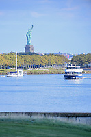 The Statue of Liberty seen in late afternoon from 14 during round 2 Four-Ball of the 2017 President's Cup, Liberty National Golf Club, Jersey City, New Jersey, USA. 9/29/2017.<br /> Picture: Golffile | Ken Murray<br /> <br /> All photo usage must carry mandatory copyright credit (&copy; Golffile | Ken Murray)