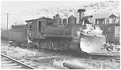 RGS 2-8-0 #41 with wedge plow on the ready track.<br /> RGS  Dolores, CO  Taken by Gibson, William A. Sr. - 8/21/1947