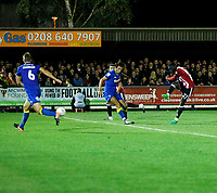 GOAL - Brentford's Justin Shaibu fires in the third goal for Brentford FC during the Carabao Cup match between AFC Wimbledon and Brentford at the Cherry Red Records Stadium, Kingston, England on 8 August 2017. Photo by Carlton Myrie.