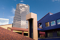 UniSource Energy Tower, Tucson's tallest building, from colorful La Placitas Village.