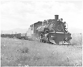 3/4 engineer side view of K-36 #483 with plow at Poncha Junction.<br /> D&amp;RGW  Poncha Junction, CO  Taken by Springer, Fred M. - 9/1955