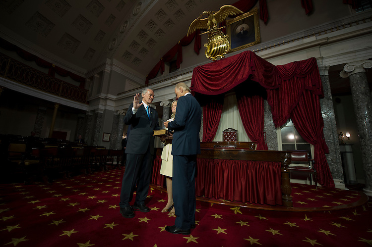 UNITED STATES -JULY 16: Senator-elect Ed Markey, D-Mass., his wife Dr. Susan Blumenthal and Vice President Joe Biden during a mock  swearing-in ceremony in the Old Senate Chamber on July 16, 2013. (Photo By Douglas Graham/CQ Roll Call)