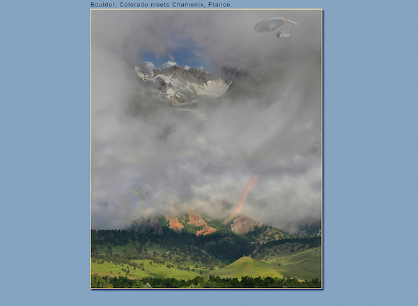 Photoshop combination of four images. The Starship Enterprise flies over Chamonix, France and Boulder, Colorado.
