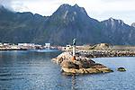 Fisherman's wife statue at harbour entrance, Svolvaer, Lofoten Islands, Nordland, Norway