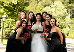 Zheila, an Iranian-American bride, and her bridesmaids, walk on the beautiful grounds of  the Tarrytown House, in New York's Hudson Valley.